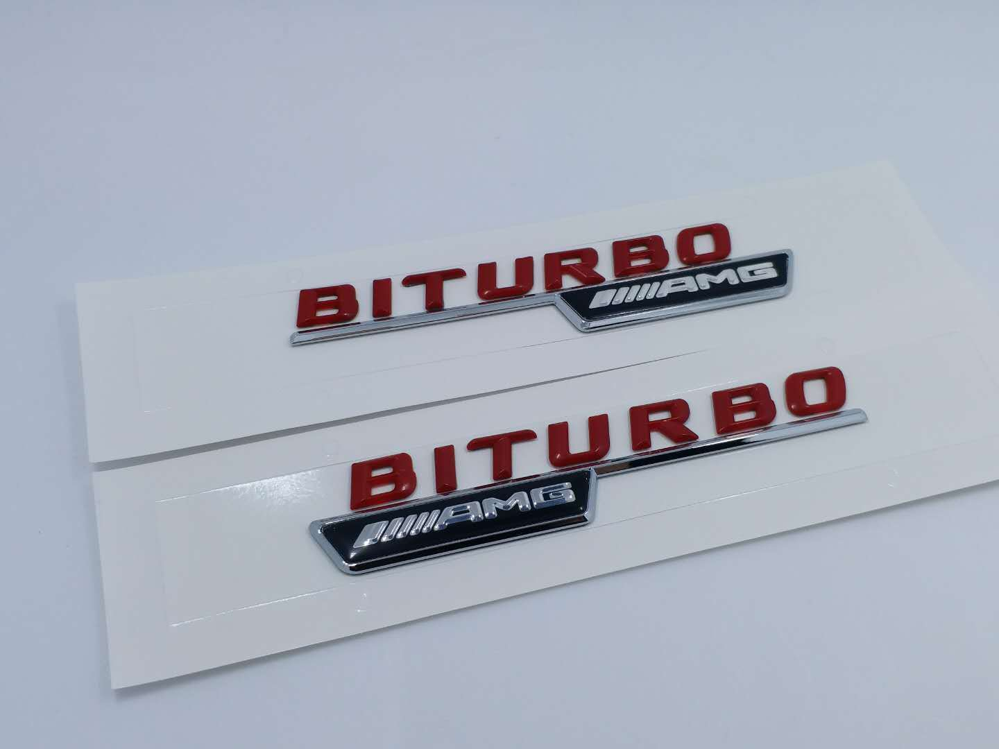 2pcs RED BITURBO AMG Number Letters Trunk Emblem Badge Sticker for Benz AMG 1