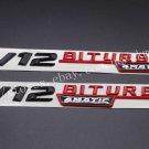 """Black Red """""""" V12 BITURBO 4MATIC """""""" Letters Badge Emblem Sticker 2pcs for Benz AMG"""