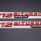 """Red """""""" V12 BITURBO 4MATIC """""""" Letters Trunk Badge Emblem Sticker 2pcs for Benz AMG"""