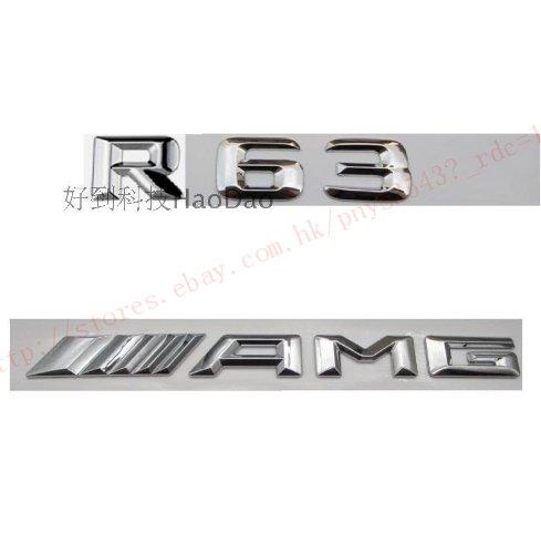 Chrome ABS Number Letters Trunk Badge Emblem Sticker for Mercedes Benz R63 AMG
