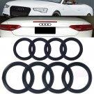 NEW Audi Matte Black Grill + Trunk Rings A6 A6L Q3 Q5 Q7 Badge Emblem