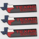 3pcs Black TEXAS EDITION Car Trunk Tailgate Emblem Badge Decal Sticker ABS