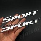 2x Metal Chrome Sport Racing Car Fender Side Trunk Emblem Badge Decal Stickers
