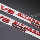 "Red """" V8 BITURBO 4MATIC """" Letters Trunk Badge Emblem Sticker 2pcs for Benz AMG"
