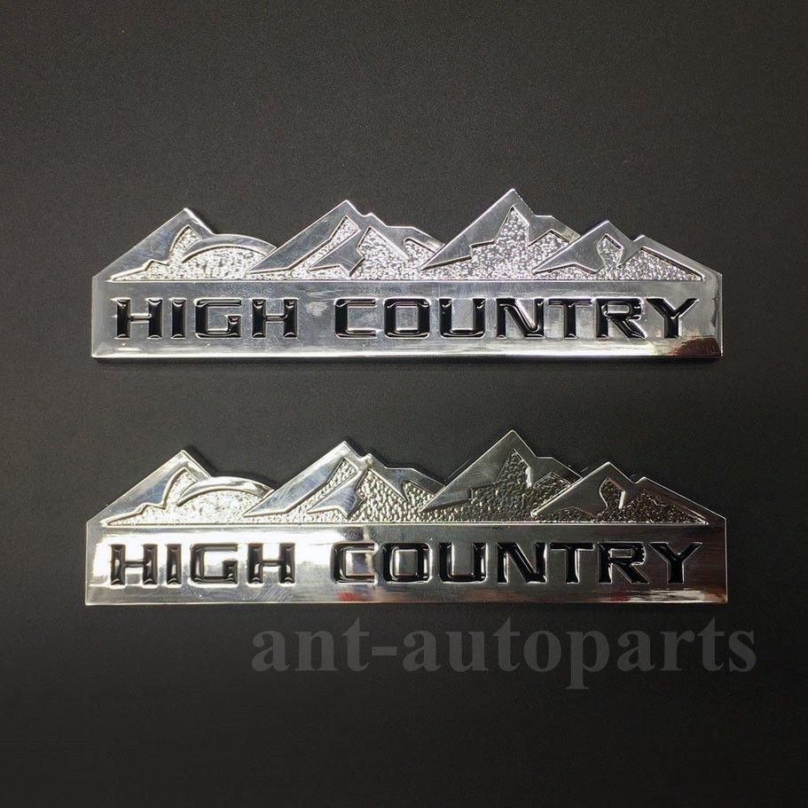2pcs Metal Chrome High Country Emblem Car Trunk Fender Rear Badge Decal Sticker
