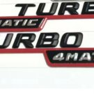 Black TURBO 4MATIC Number Letters Trunk Emblem Sticker 2pcs for Mercedes Benz
