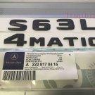 """Matt black """"""""S63L + 4 MATIC"""""""" Letters Trunk Emblem Badge Sticker for Mercedes Benz"""
