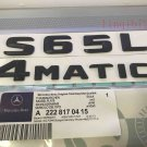 """Matt black """"""""S65L + 4 MATIC"""""""" Letters Trunk Emblem Badge Sticker for Mercedes Benz"""