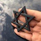 Black Metal ChromeStar of David Jewish Car Trunk Rear Emblem Badge Decal Sticker