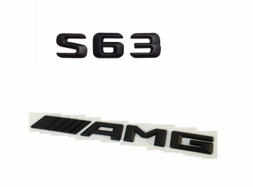 """Matte Black Letters """"""""S 63 ////AMG"""""""" Trunk Badge Emblem Sticker for Benz S63 AMG"""
