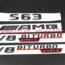 """Matte Black """"""""S63 AMG V8 BITURBO 4MATIC""""""""Number Emblem Sticker for Mercedes-Benz"""
