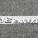 Chrome Flat V12BITURBO Letters Trunk Side Emblem Badge Sticker for Mercedes Benz