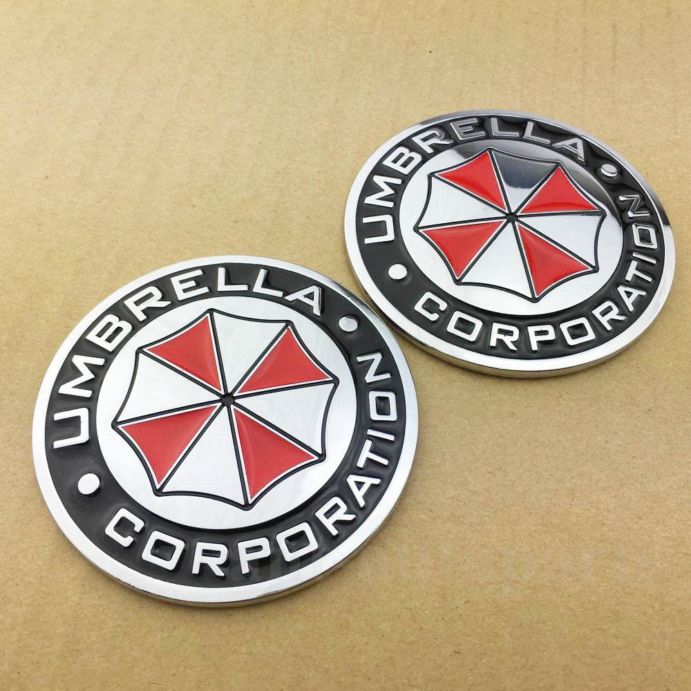 2pcs Metal Biohazard Resident Evil Umbrella Auto Car Emblem Badge Decal Sticker