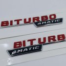 2x RED BITURBO 4MATIC Number Letters Trunk Emblem Badge Sticker for Benz AMG