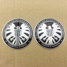 2pcs Agents of shield Aluminum Badge Emblem Stickers Auto Car Oil Trunk Tailgate