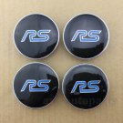 4x 60mm Blue RS Racing Sport Car Wheel Center Hub Cap Badge Emblem Decal Sticker