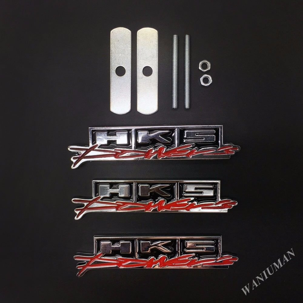 3pcs HKS Power Metal Car Auto Emblem Front Grille Badge Decal Sticker  JDM