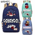 NEW  Anime Miraculous Ladybug Canvas bag Flower wave point  backpack for teen