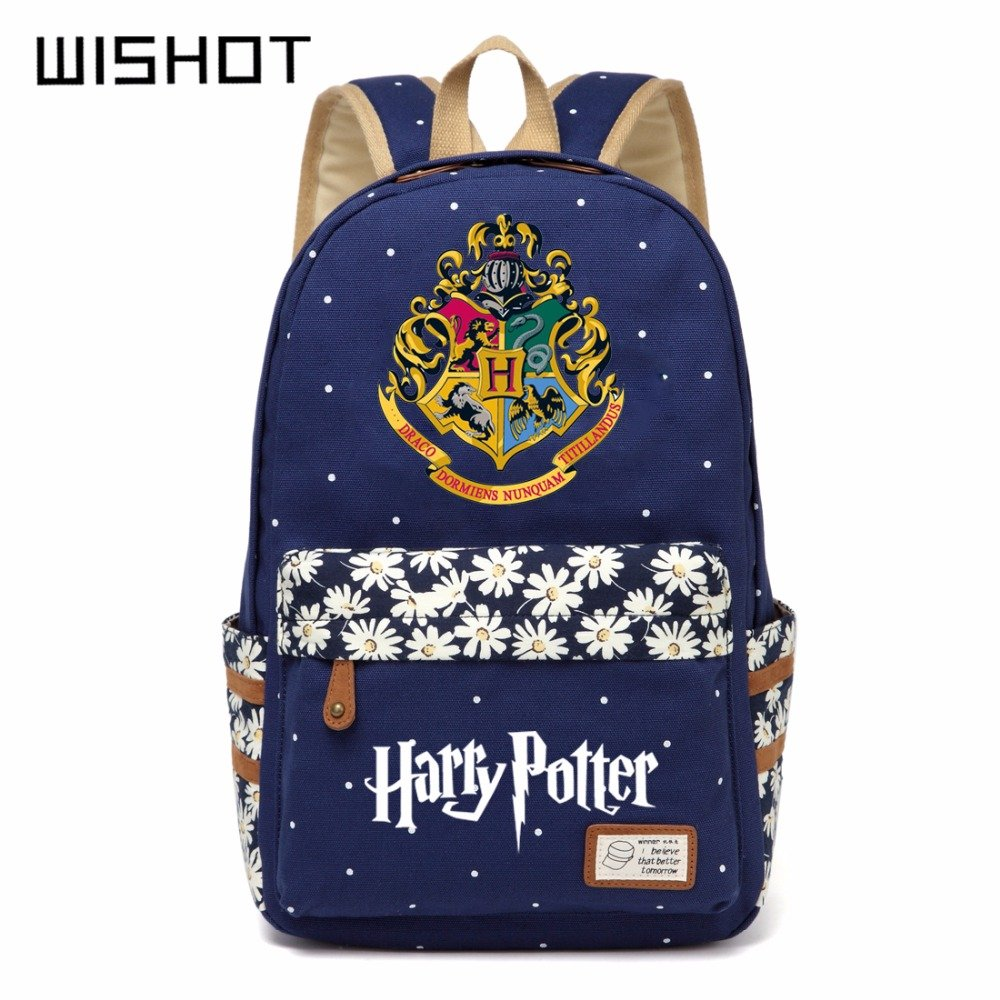 NEW Harry Potter Canvas bag Flowers wave point Rucksacks backpack Girls women
