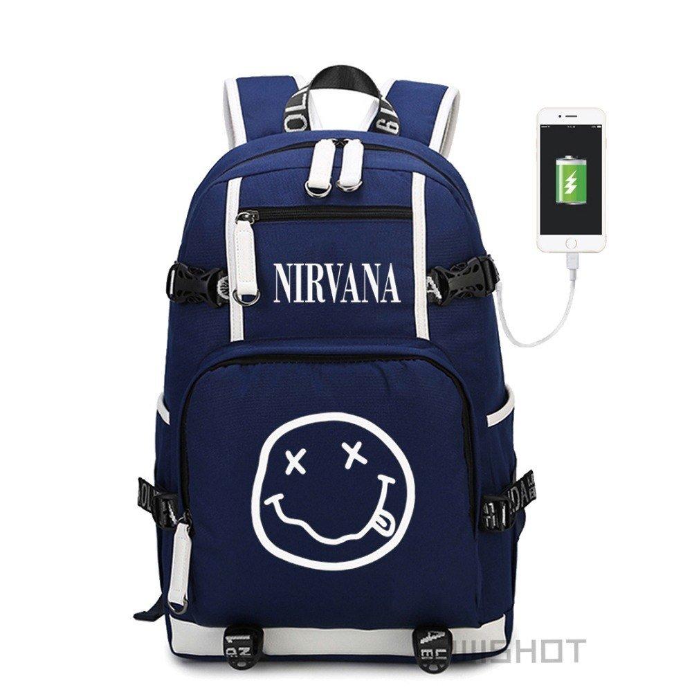 "NEW NIRVANA Smiley Face KURT COBAIN backpack for teenagers Men women""""s Studen"