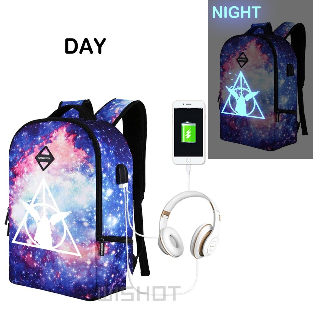 NEW  Luminous Harry Potter Backpack Multifunction USB Charging Waterproof Ant