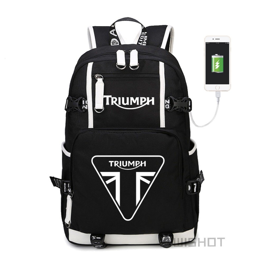 NEW triumph motorcycle   multifunction USB charging  backpack teenagers Men w