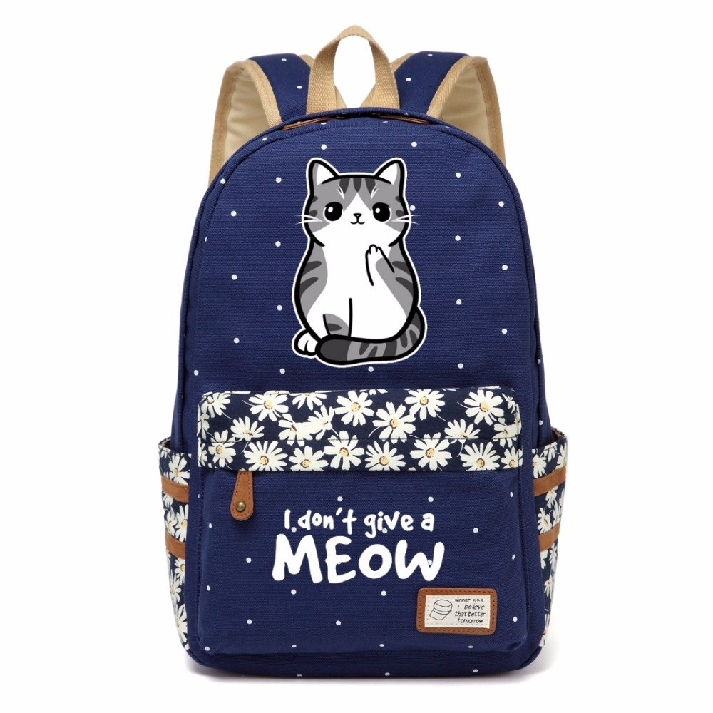 NEW meow lovely cute cat Canvas bag Flower wave point Rucksacks backpack Girl