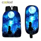 Galaxy Backpack for Teenage Girls Boys Bookbag Students Backpack + Pencil Holder