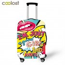 Kiss Me Pink Suitcase Protective Cover Red Lips Travel Bag Cover Elastic Trolly