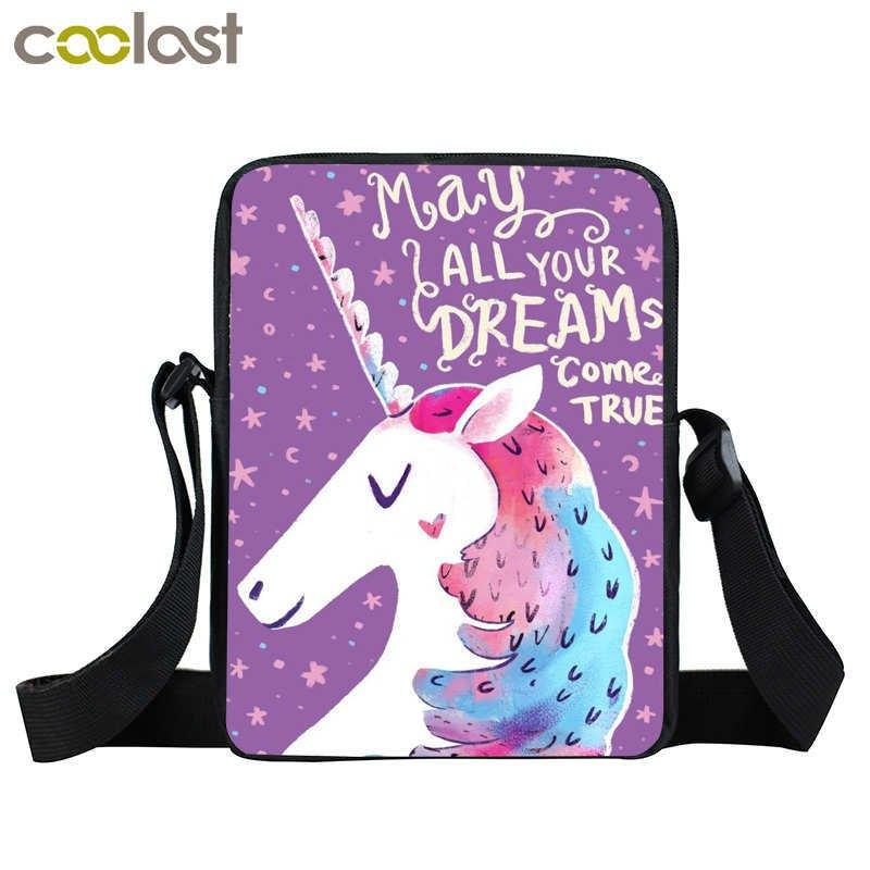 Cartoon Unicorn Bag Mini Messenger Bag Children School Bags Cartoon Crossbody Ba