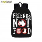 I Do Not Eat Friends Vegan Backpack School Bags for Girls Boys Vegetarian Teen B