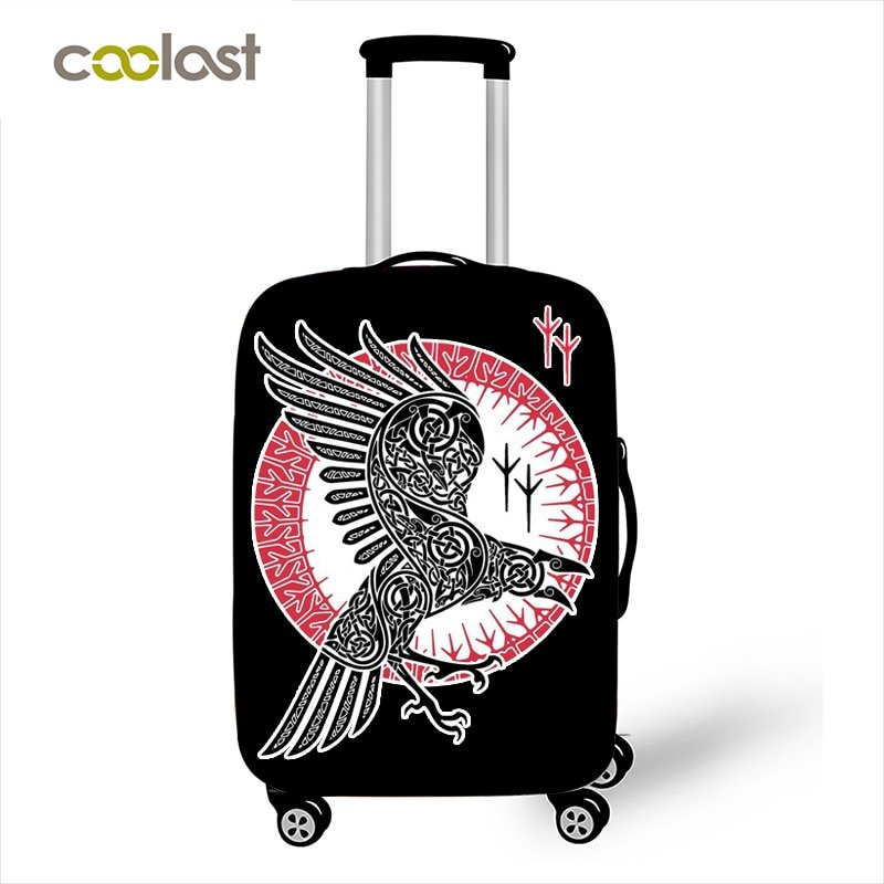 Vikings Raven Luggage Cover for Boys Vegvisir Tatoo Suitcase Protective Covers E