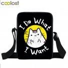 Cartoon Middle Finger Cat Purse Girls Boys School Bag I Do What I Want Crossbody