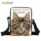 Black Maine Coon Cats Crossbody Bag for Girls Children Animal School Bags Pet ha