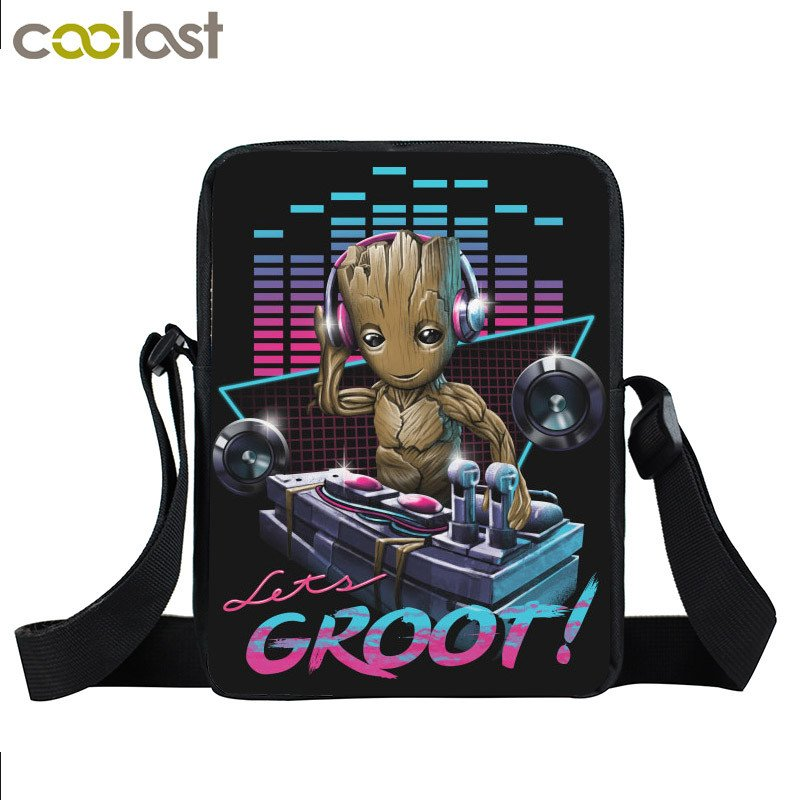 Anime Movie Groot / Porgs / Caesar Crossbody Bags for Women 2017 Handbag Boys Gi