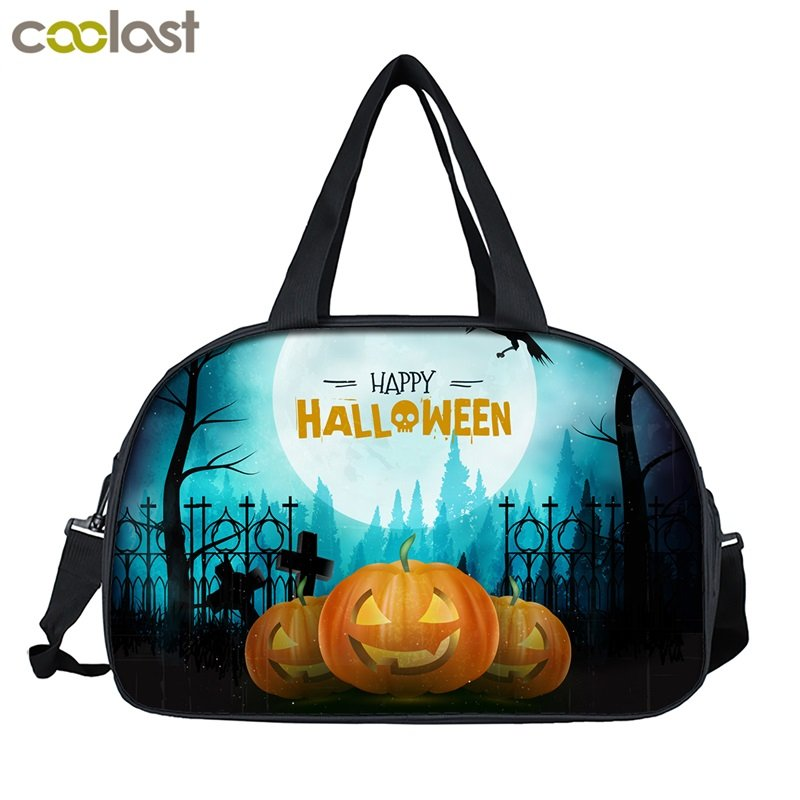 Cartoon Carry on Luggage Travel Bag for Suit Happy Halloween Women Duffel Bag Cr