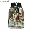 Sad Angel School Backpack for Teenagers Girls Boys Schoolbag Fantasy Wings Galax