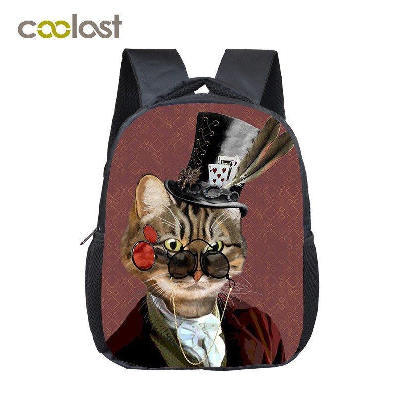 Steampunk Children School Bags Cat Backpacks Boys Girls Dog Rottweiler Kindergar