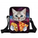 Cute Kitten Mini Messenger Bag Cat Eating Tacos Pizza Crossbody Bag Women Handba