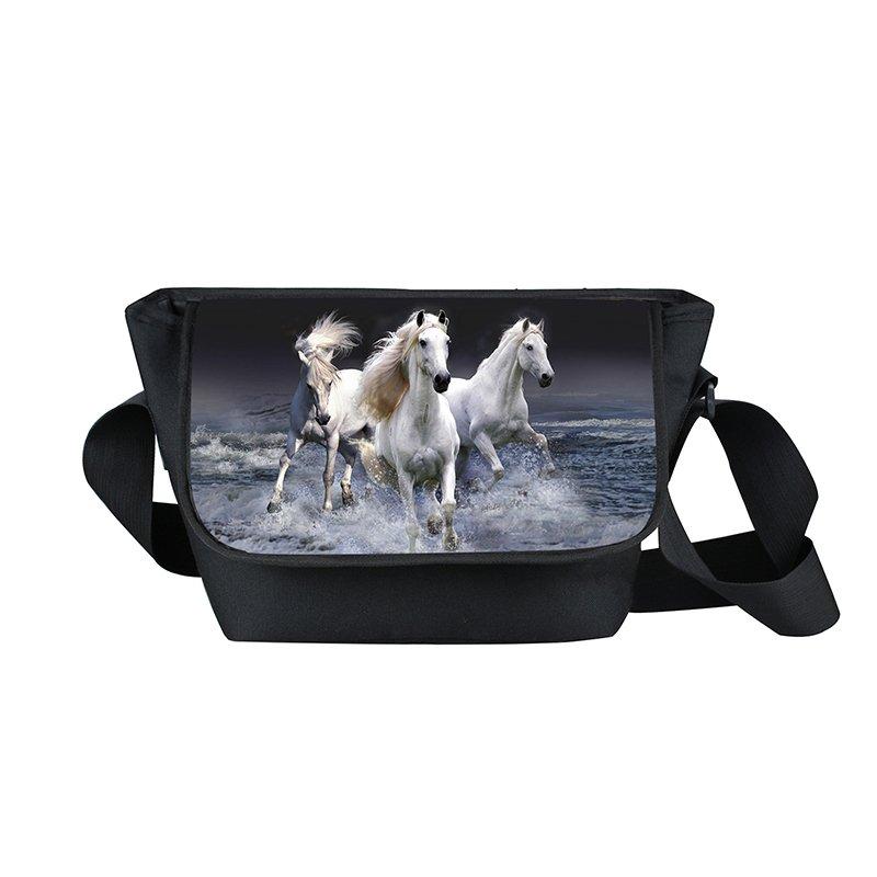High Quality Teenager boys Messenger Bag Animal Horse Print Crossbodybag for Wom
