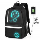2018 New Fashion Men Backpack Student School Bag Anime Luminous USB Charge Lapto