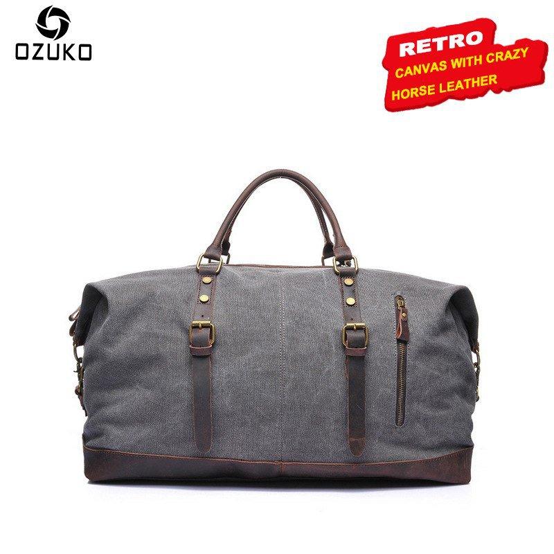 NEW Large Capacity Vintage Canvas Men Bag Tote Waterproof Travel Bag Casual Ha