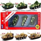A Set-3pcs NO.K 1/64 Alloy Military Tanks Diecast Model Toys Collections Gifts