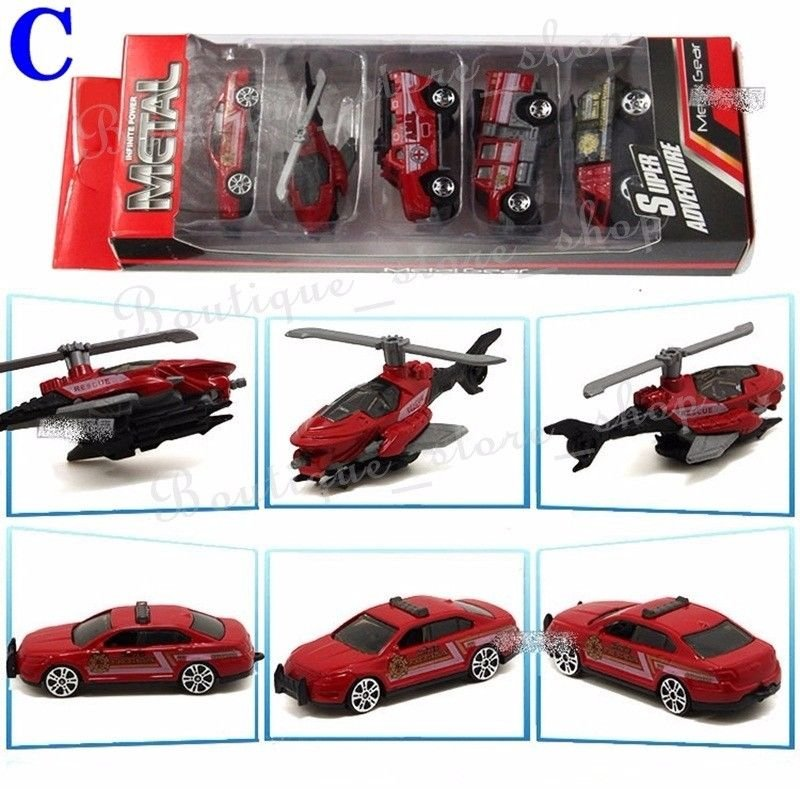 A Set-5pc NO.C 1/64 Alloy Military Tank Helicopter Ambulance Car Truck Model Toy