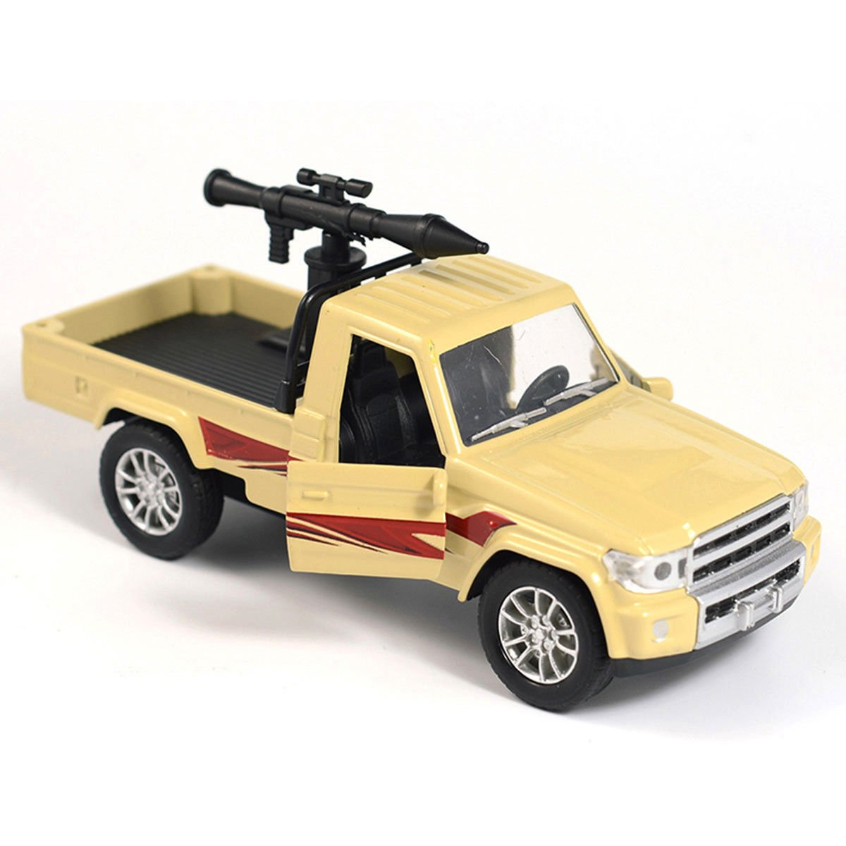 1:28 Military Pickup Truck w/ Antiaircraft Missile Diecast Car Model Toy Yellow