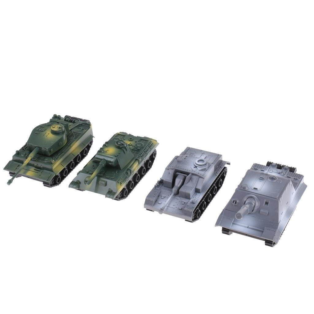 4pcs 1/72 Armored Tank Model Pull Back Military Car Kid Toy Rotating Turret