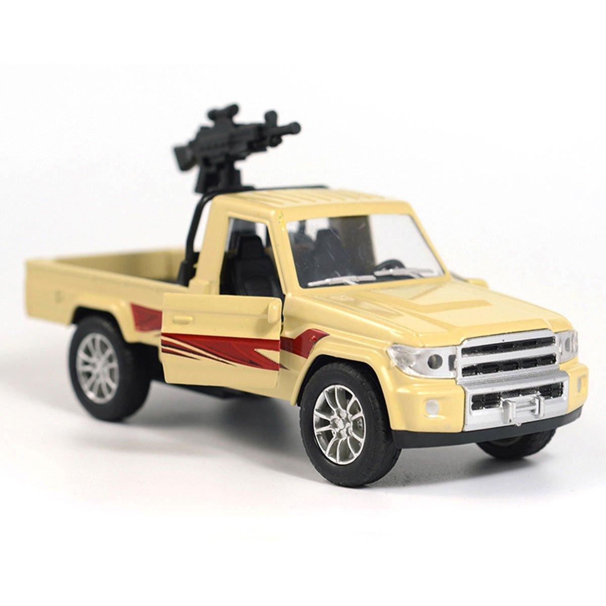 1:28 Military Pickup Truck w/ Machine Gun Army Car Model Diecast Vehicle White
