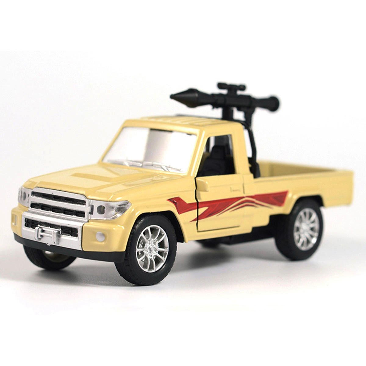1:28 Military Pickup Truck w/ Antiaircraft Missile Car Model Diecast Toy Kid Boy