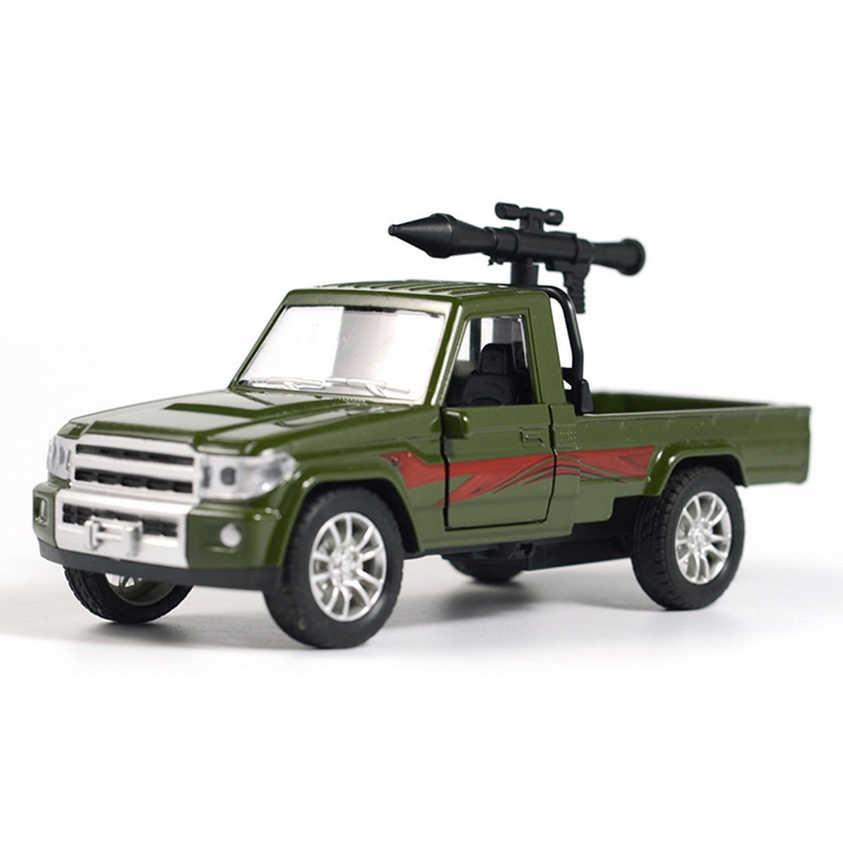 1:28 Military Pickup Truck w/ Antiaircraft Missile Car Model Diecast Toy Green