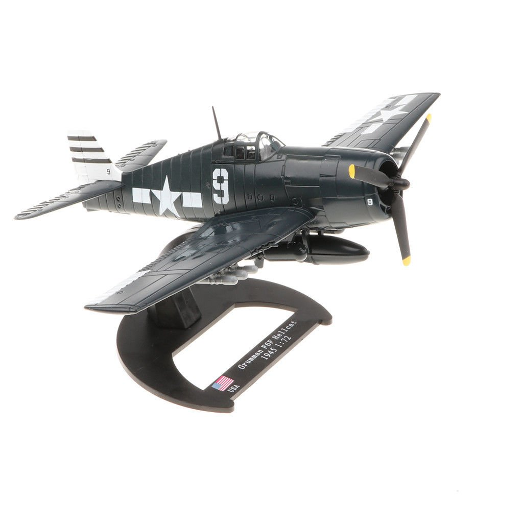 USA Grumman F6F Hellcat 1:72 Scale WWII Military Fighter Model with Base